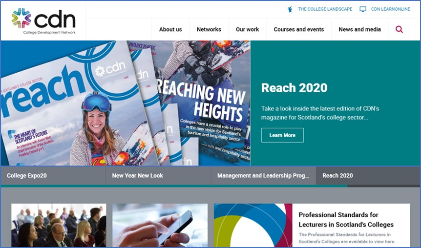 Screenshot of the College Development Network website