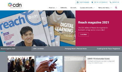 Screenshot of the College Development Network website