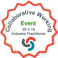 Collaborative working in sensory support event badge